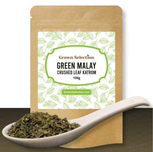 Green Malay crushed leaf kratom, 100g