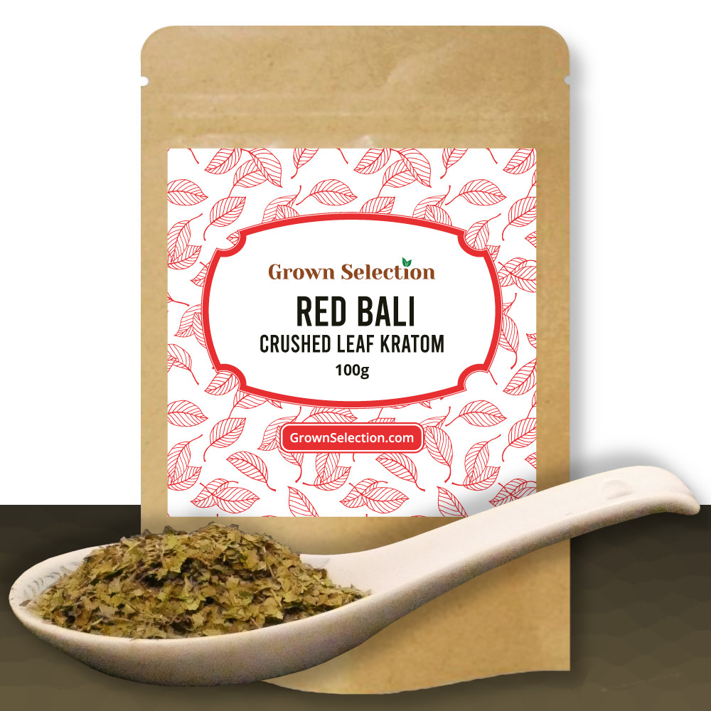 Red Bali Crushed Leaf Kratom, 100g