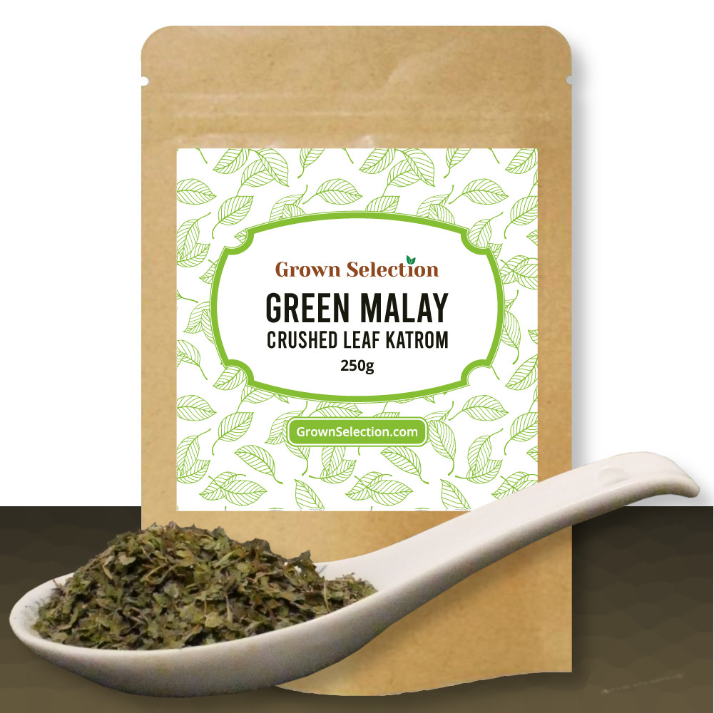 Green Malay crushed leaf kratom, 250g