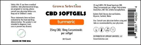 25mg CBD, 10mg Turmeric Softgels
