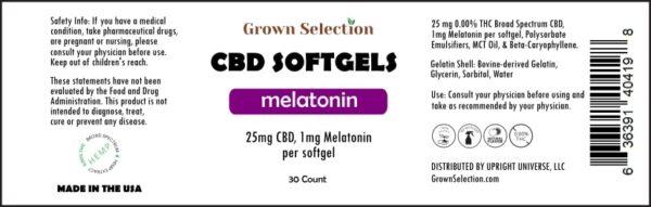 25mg CBD, 1mg Melatonin softgels