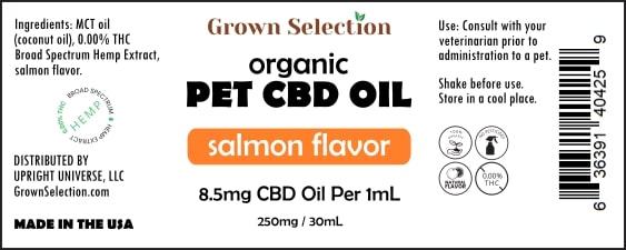 CBD pet oil, salmon flavor