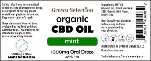 organic mint CBD oil, 1000mg, 30mL, 1oz