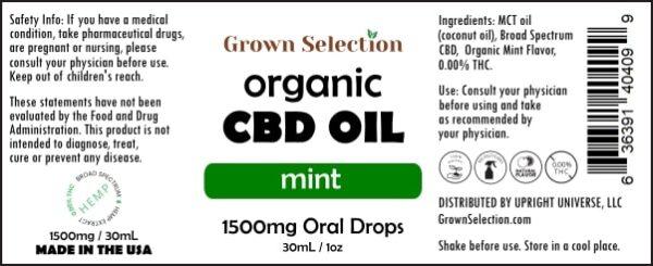 organic mint CBD oil, 1500mg, 30mL, 1oz