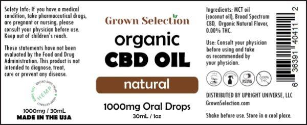 organic natural CBD oil, 1000mg, 30mL, 1oz