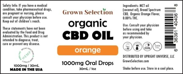organic orange CBD oil, 1000mg, 30mL, 1oz