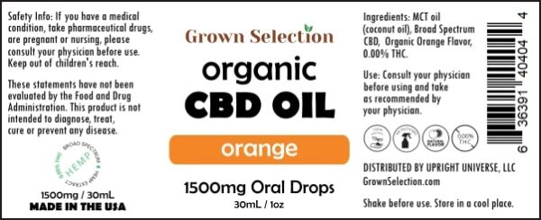 organic orange CBD oil, 1500mg, 30mL, 1oz