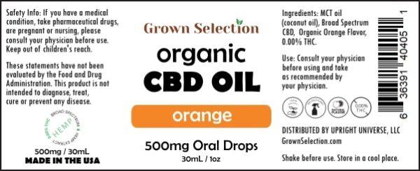 organic orange CBD oil, 500mg, 30mL, 1oz